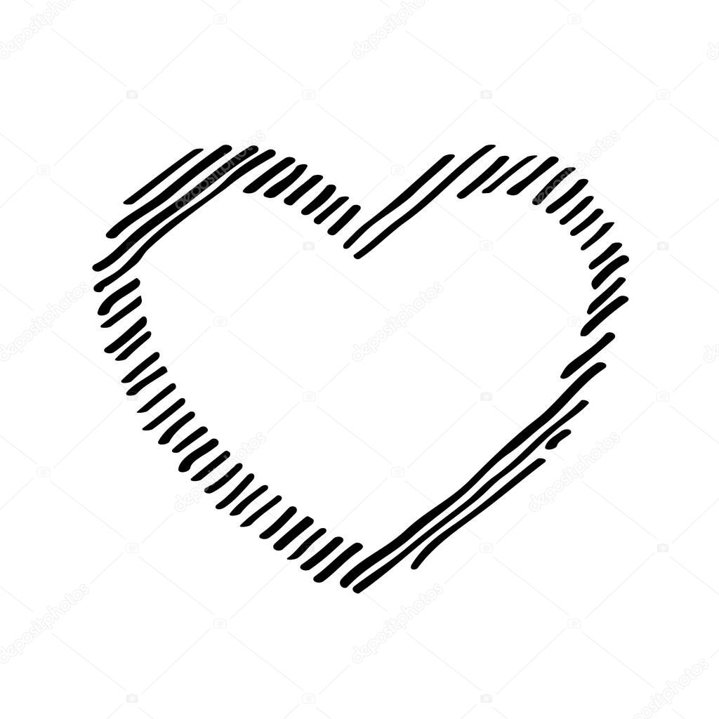 Scribble diagonal hatching  black heart shaped frame  symbol love for Valentines Day icon