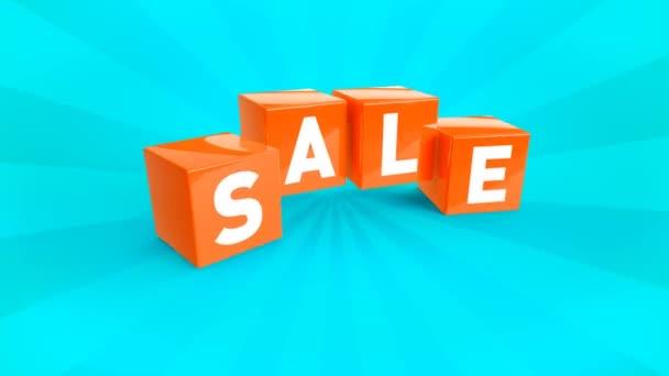 Oranžový padající kostky s textem prodej