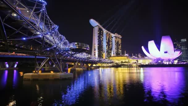illuminated Helix Bridge, Singapore