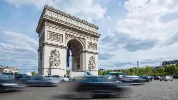 French flag under Arc de Triomphe, Paris