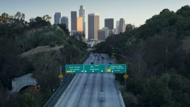 Pasadena Freeway leading into  Los Angeles