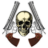 A human skull with two silver revolvers on an empty background