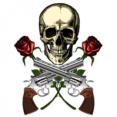 A human skull with two guns and two red roses