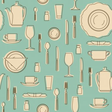 Seamless pattern with kitchen equipments. Set of hand drawn cookware. Silhouettes of kitchen utensils.