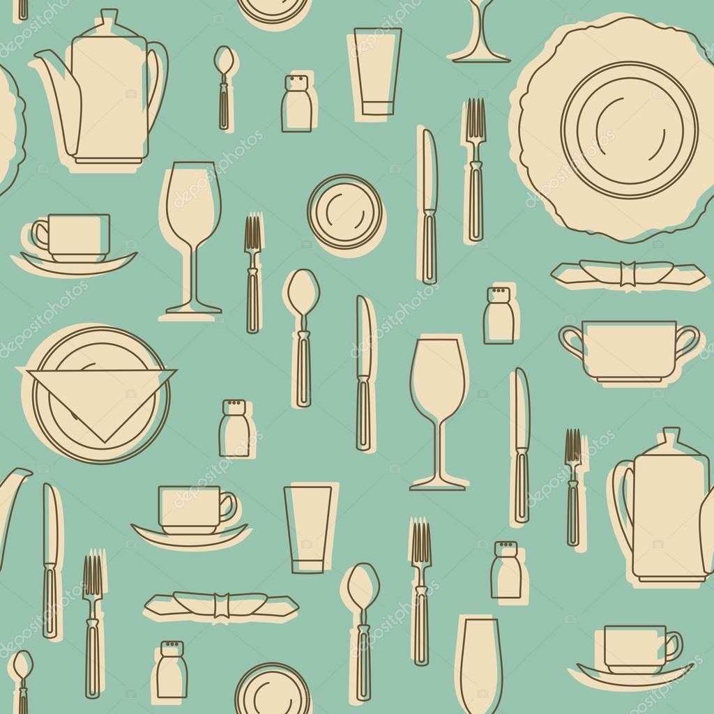 Seamless pattern with kitchen equipments. Set of hand drawn cookware ...