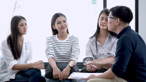 young asian ladies and man have focus group interview meeting. Concept consulting of mental health of women problem. Mind Matters Psychology  Counseling.