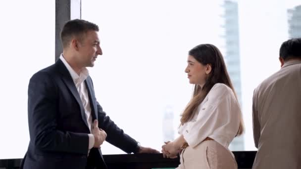 business people woman and man team talking. Diverse business people meeting together at outdoor skyscraper.