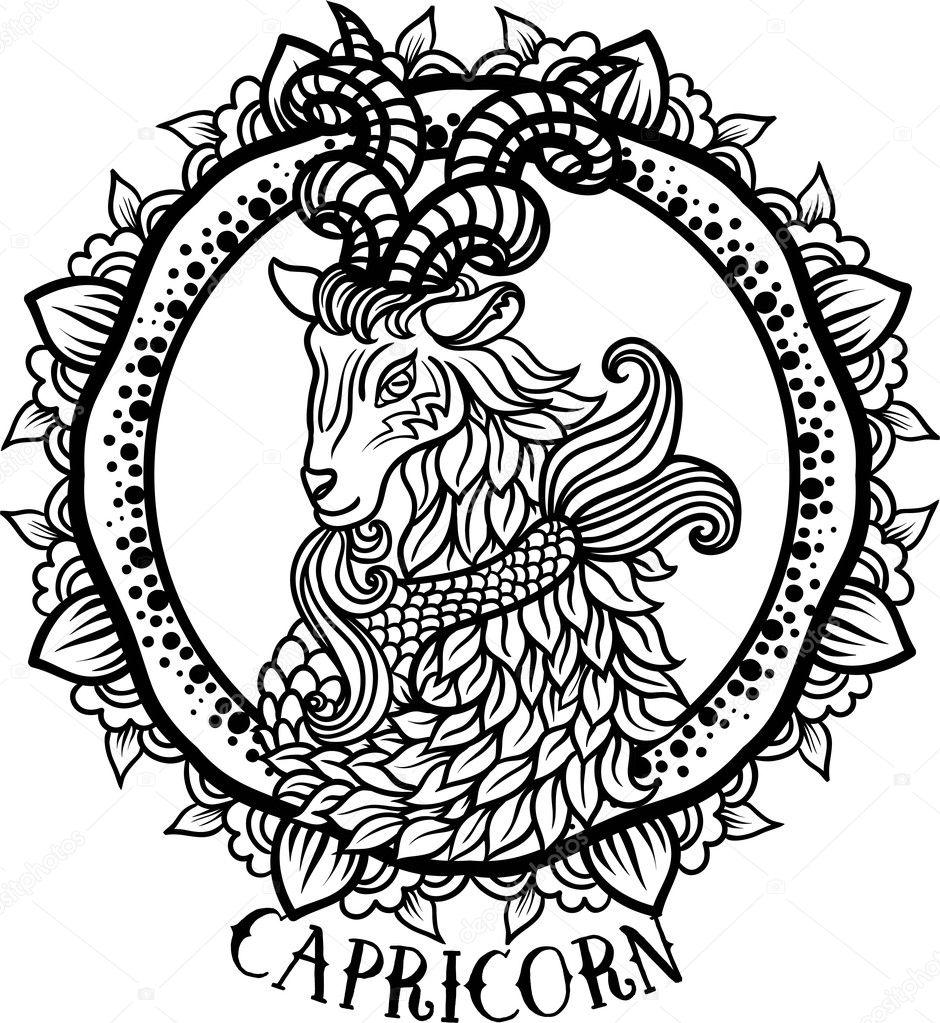 Detailed Capricorn Aztec Filigree Line Art Zentangle Paisley