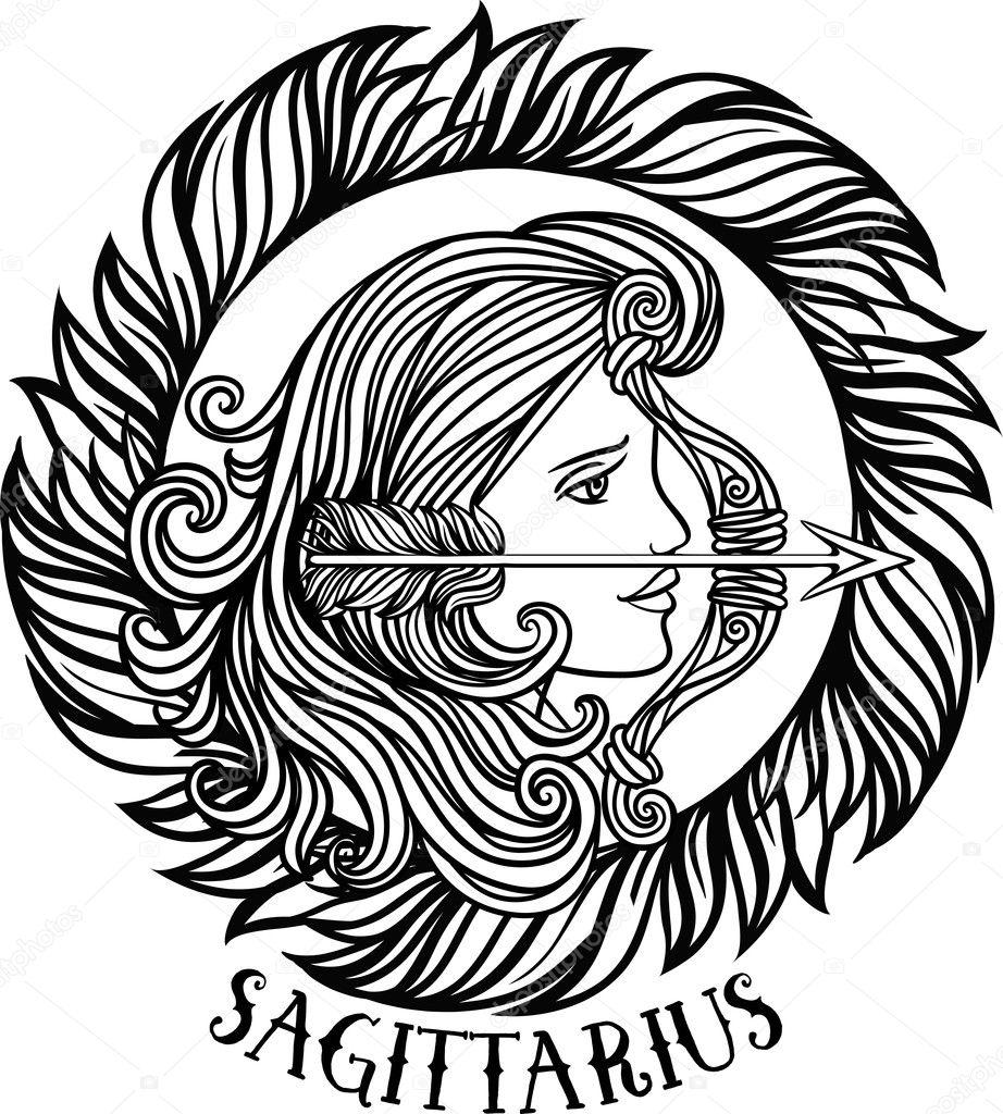 Detailed Sagittarius Aztec Filigree Line Art Zentangle Style