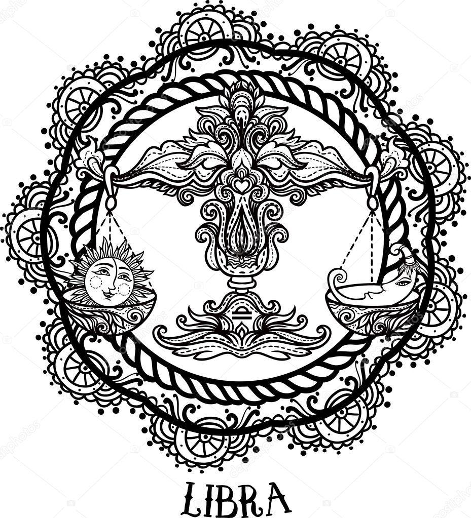 Detailed Libra Aztec Filigree Line Art Zentangle Style