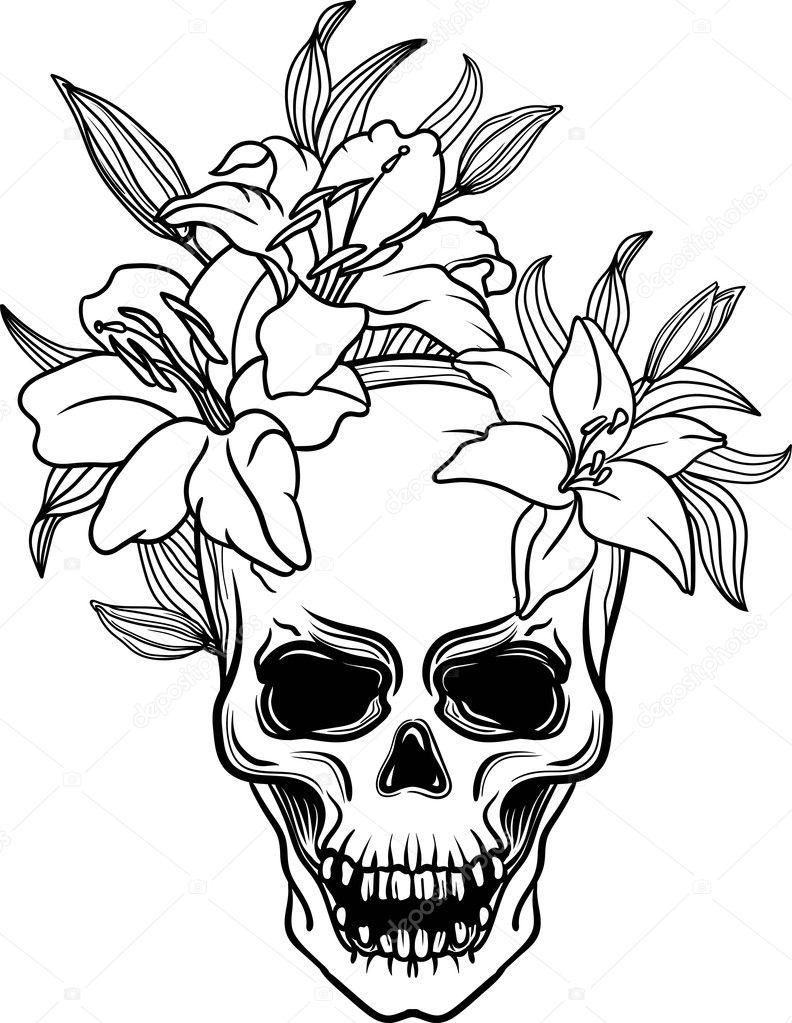 Hand Drawn Trash Skull Lily Flower Blackwork Old School Vintage