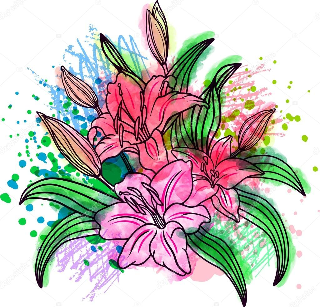 Lily flower inside a triangle stock vector shik shik 122369368 lily flower isolated over white a bouquet of flowers vector illustration dotwork blackwork hipster style tattoo coloring watercolor chalk pastels izmirmasajfo