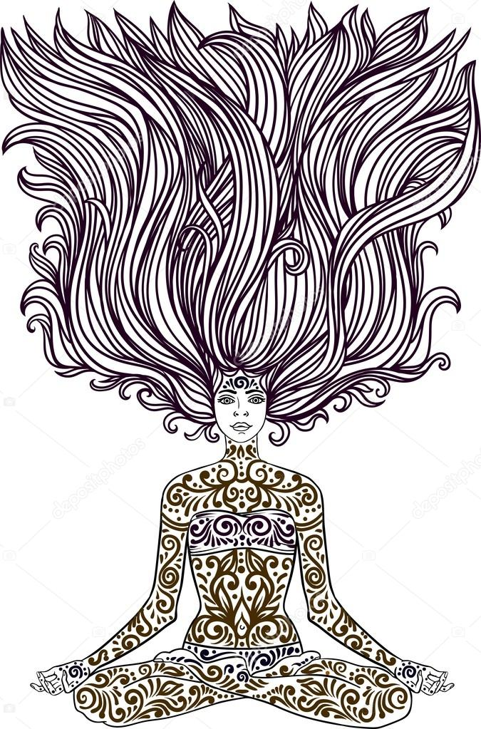 f41d5507f86ec Woman sitting in meditation yoga lotus pose with Tattoo mehendi zentangle  ornamental vintage body-art pattern. Vector illustration.