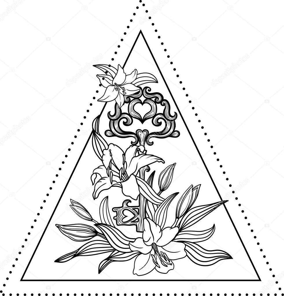 Coloriage Fleur Hippie.Fleur De Lys A L Interieur D Un Triangle Image Vectorielle Shik