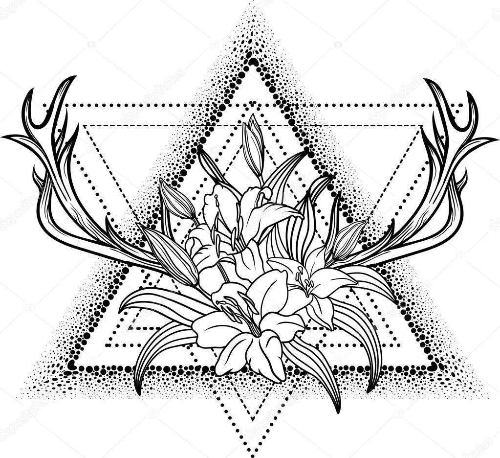 Coloriage Dun Bouquet De Fleurs.Fleur De Lys A L Interieur D Un Triangle Image Vectorielle Shik