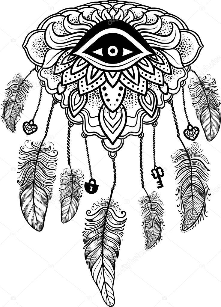 Plumas indio colorear | Talismán Indio Americano Nativo Atrapasueños ...