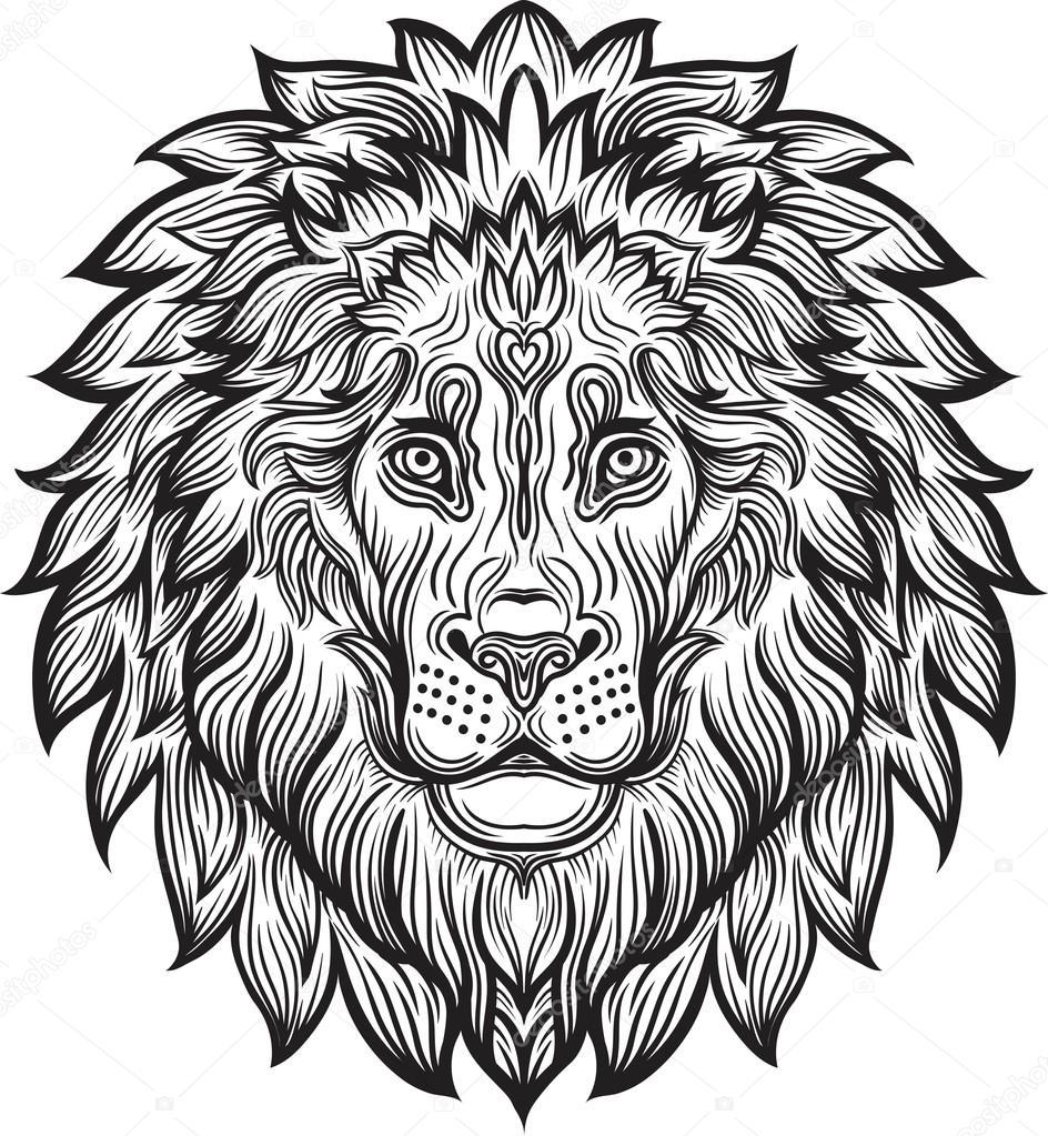 Ausführliche Löwe im Azteken-Stil — Stockvektor © shik-shik #122401150