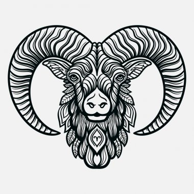 Hand drawn line art of zodiac arias. Vector