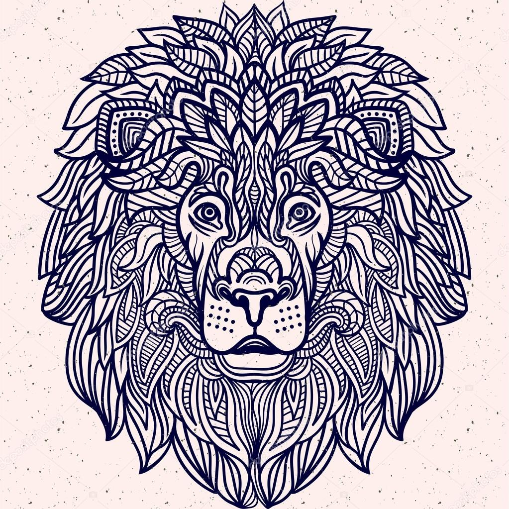 Ausführliche Löwe im Azteken-Stil — Stockvektor © shik-shik #122471758