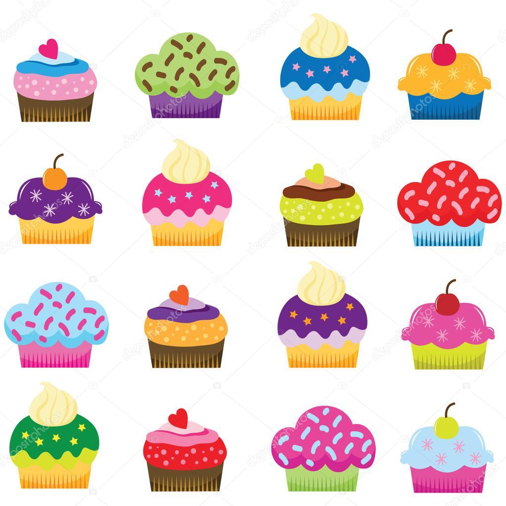 Imágenes Cupcakes Animados Ilustración De Dibujos Animados De