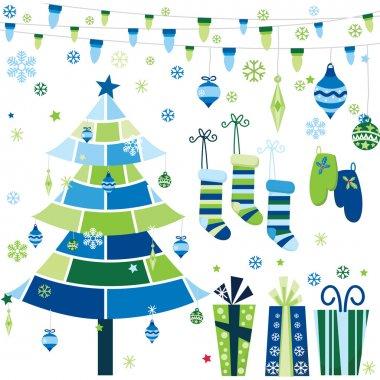 Blue Retro Christmas Design Elements