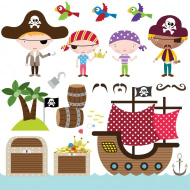 Set of Cute Pirate Elements