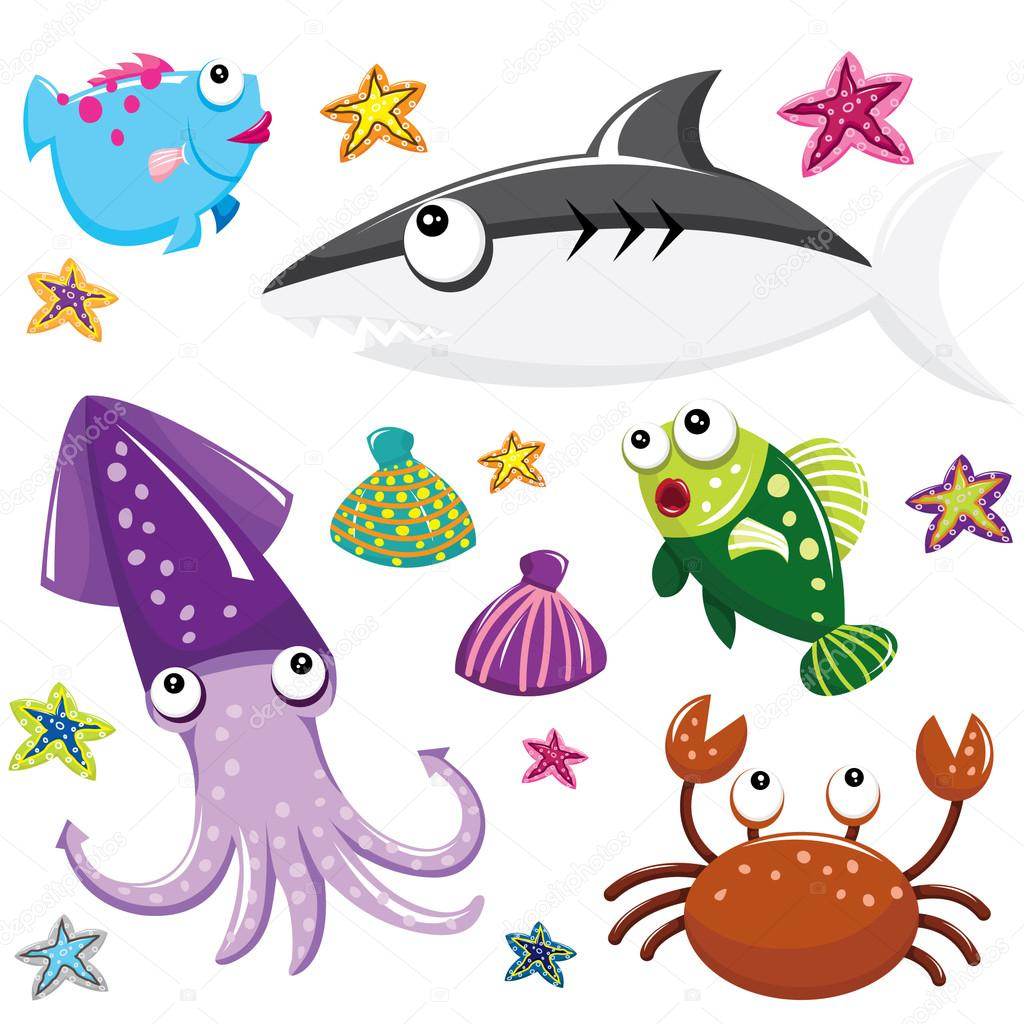 Cartoon Underwater Sea Creatures