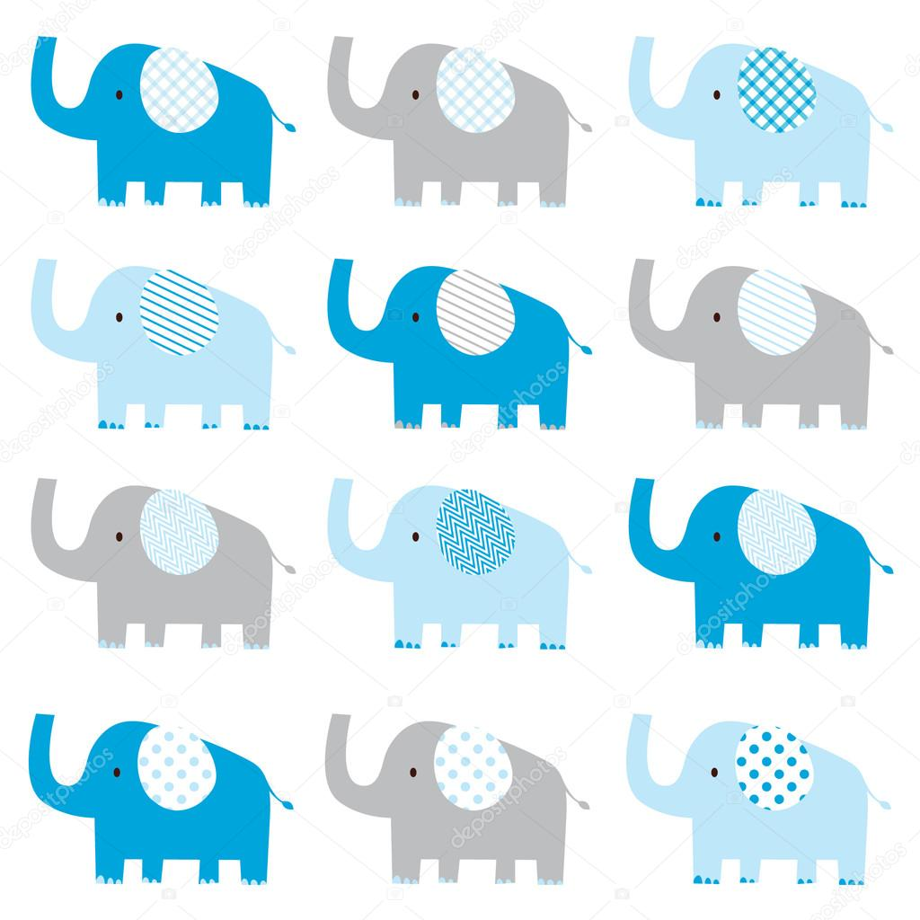 Cute Blue Elephant Pattern Stock Vector Jason_lsy 108754466