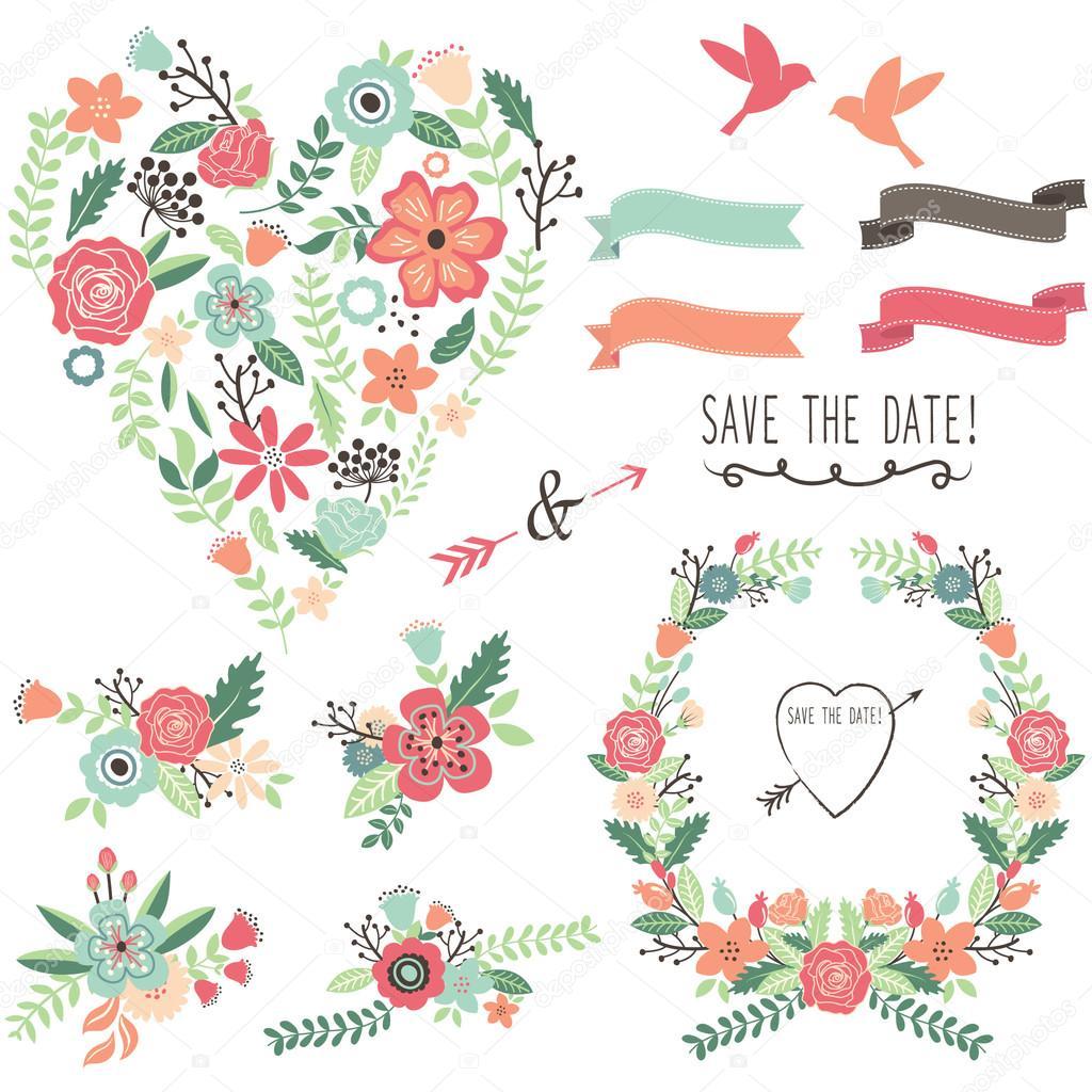 Vintage Blumen Hochzeit Herz Elemente Stockvektor C Jason Lsy