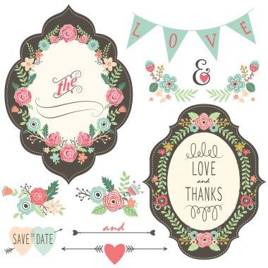 A vector illustration of Vintage Wedding Flora Frame. clip art vector