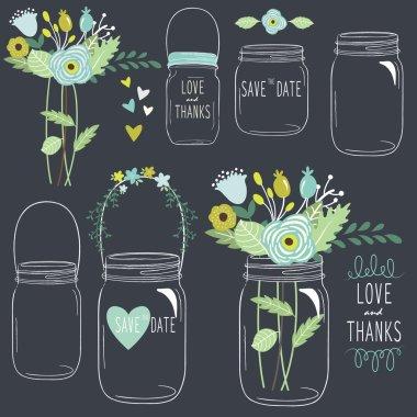 Hand Draw Chalkboard retro Mason Jar
