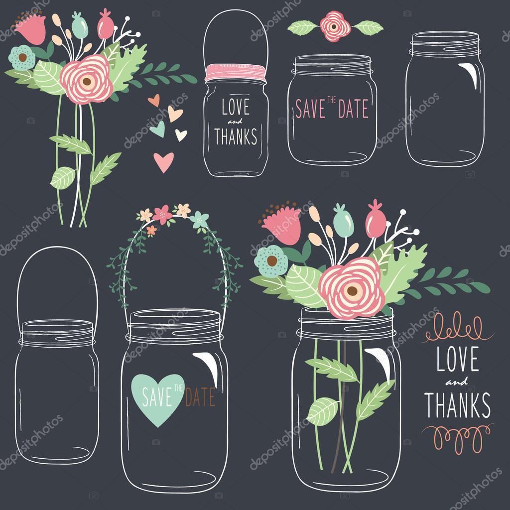 Hand Draw Chalkboard Wedding Mason Jar