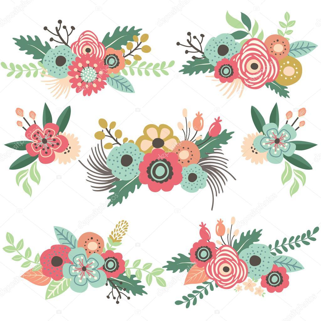 Vector Flores Vintage Conjunto Vintage Flor Vector De Stock