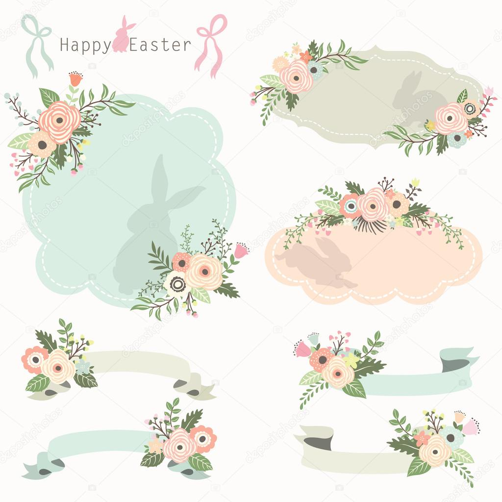 a vector illustration of floral easter frames and banners set vector by jason_lsy - Easter Frames