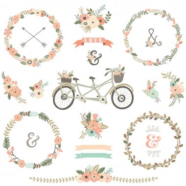 Vintage Hand Drawn Floral Bicycles