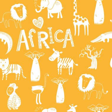 Seamless background with Africa animals
