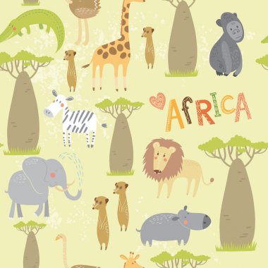 cute cartoon African animals