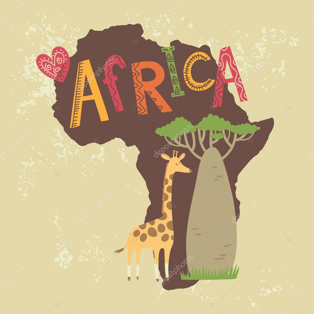 Card with a giraffe and Baobab