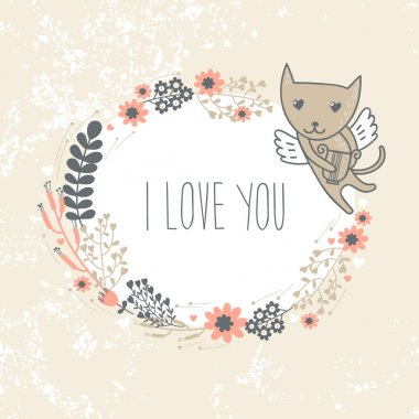 Valentine's Day card with cute cat