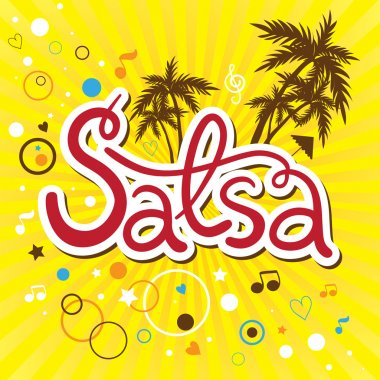Inscription Salsa party with palms