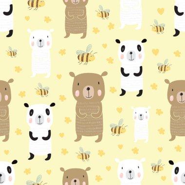 pattern with cute cartoon bears