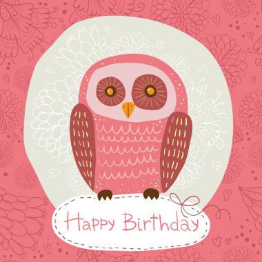Happy Birthday card with  owl.