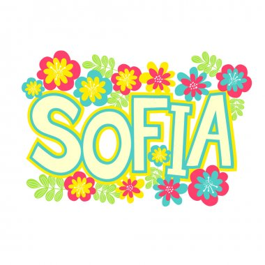 Card with beautiful name Sofia in flowers
