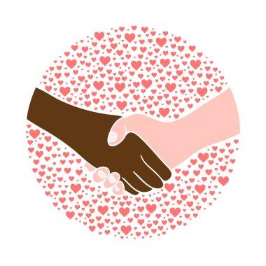 Hand shake , black and white man.