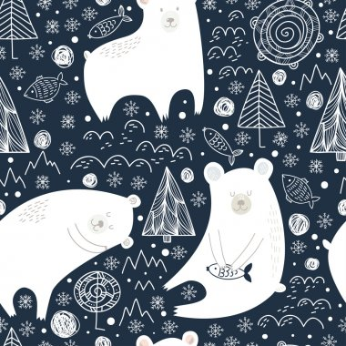 seamless pattern with cute polar bears