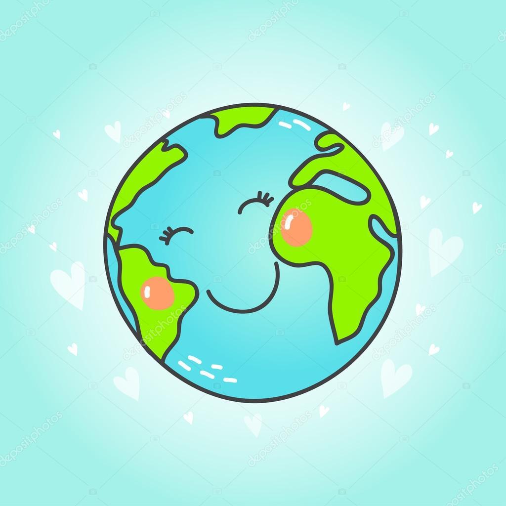 Postal Con Dibujos Animados Planeta Tierra Archivo Imágenes