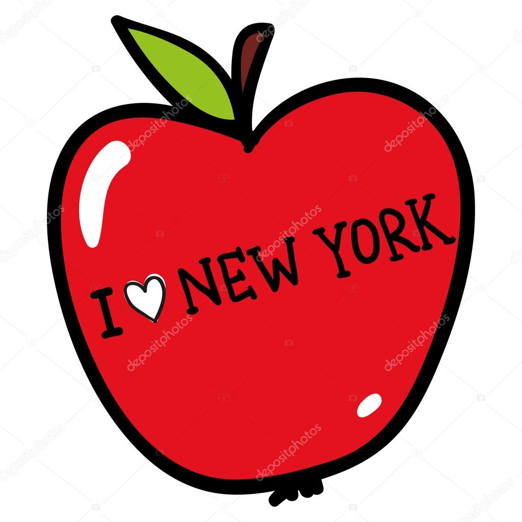 apple with i love new york — stock vector © whynotme.cz #108897746