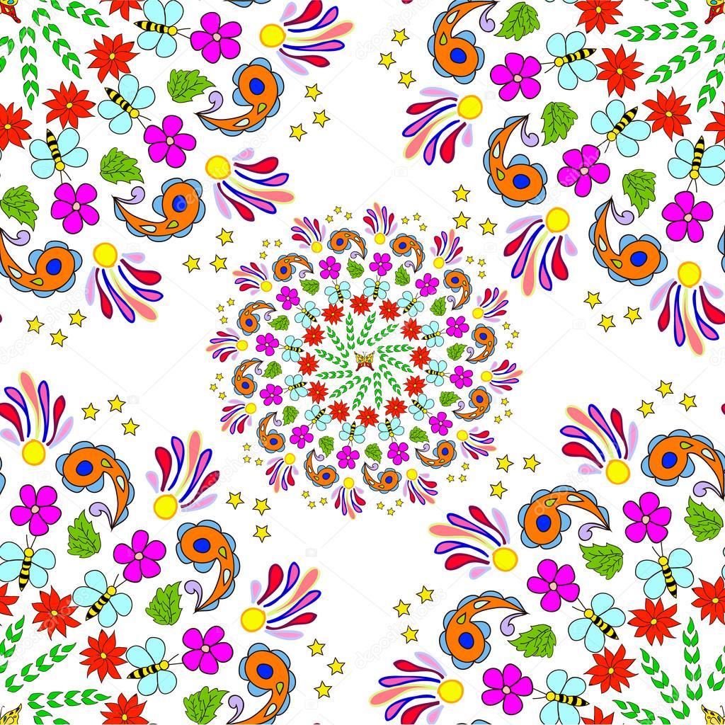 Children's seamless summer pattern mandala with flowers