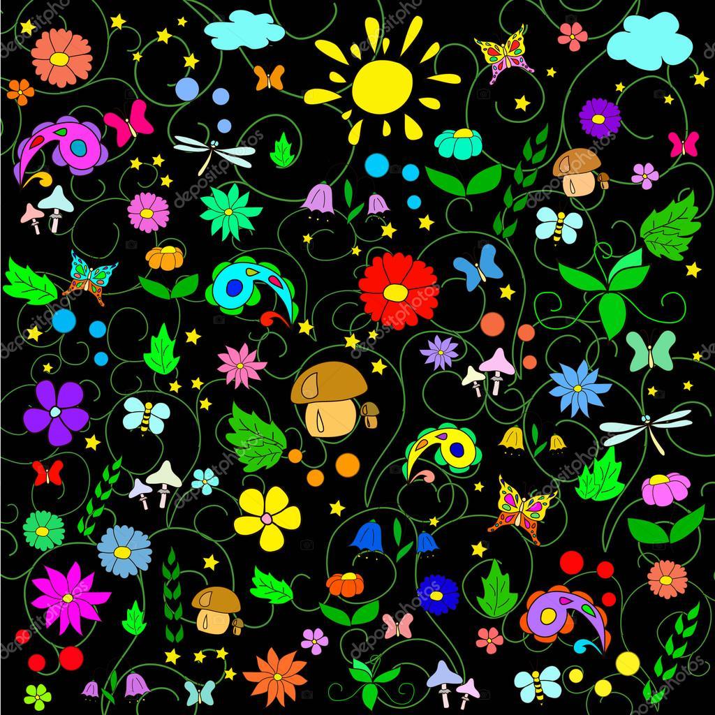 Children's summer pattern with flowers