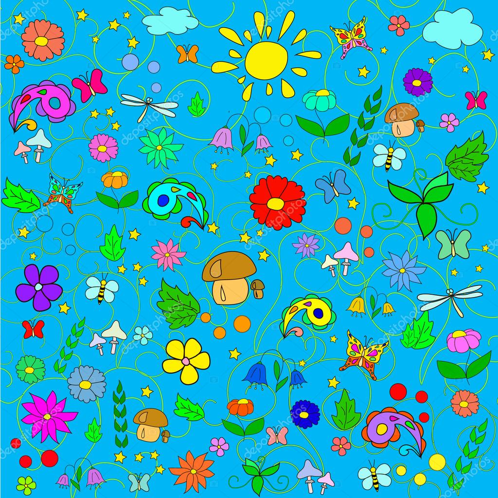 Children's summer pattern with flowers, leaves, mushrooms, sun, clouds, dragonflies, bees, stars and butterflies